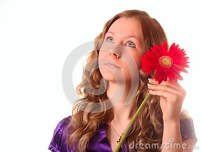 Girl and red flower