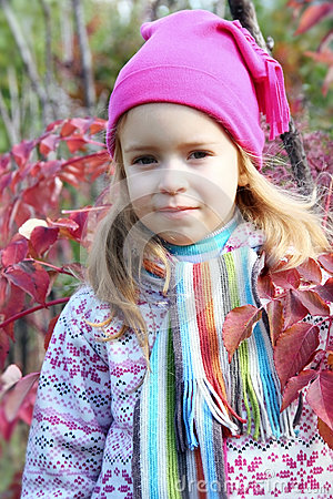 Girl in the red foliage