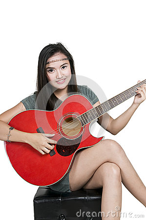 Girl with red guitar