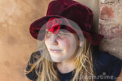 Girl Red Hat Portrait