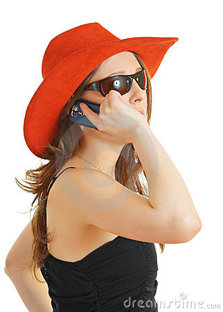 Girl in a red hat and sun glasses
