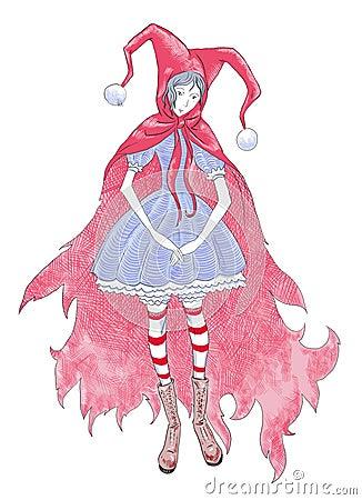 Girl in red hood.