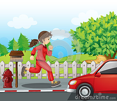 A girl in a red jacket and pants running