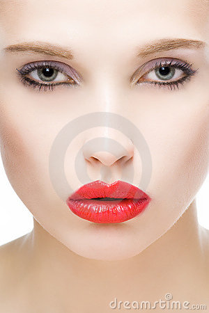 Girl with red lips