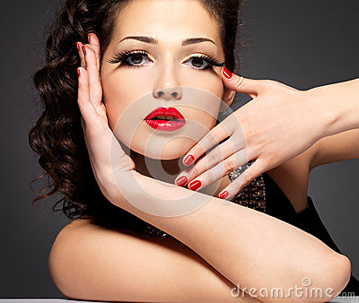 Girl with red nails