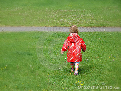 Girl in red raincoat