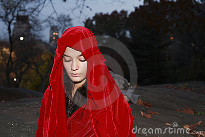 Girl in red robe