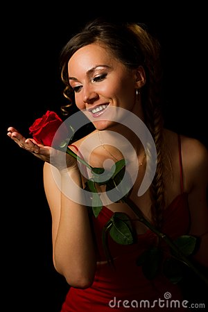 Girl And A Red Rose Royalty Free Stock Photography - Image: 19228657