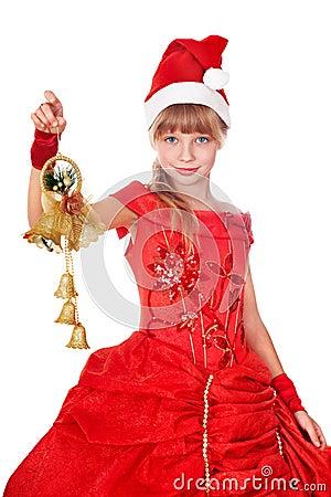 Girl in red santa hat.