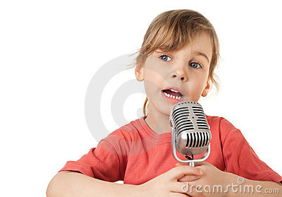 Girl in red T-shirt sing in old style microphone