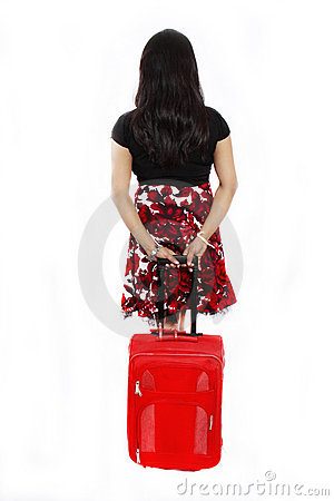 Girl with a red travel bag