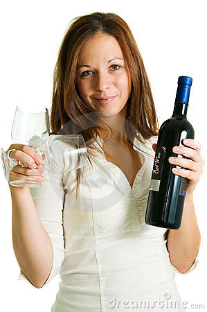 Girl and red wine