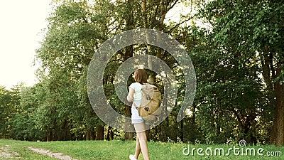 Girl-Reisende mit Rucksack wandern entlang einer Waldstraße Wanderer wandert im Sommer im Wald glückliche Wanderer stock footage