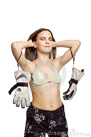 Girl relax in bikini and snowboard sportswear