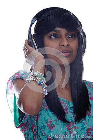 Girl relaxes to music