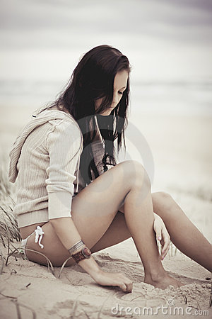 Girl relaxing on beach