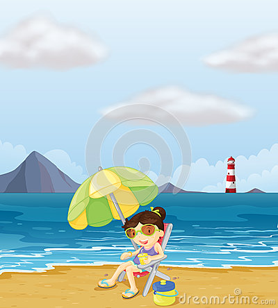 A girl relaxing at the beach