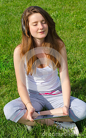 Girl relaxing listening to music