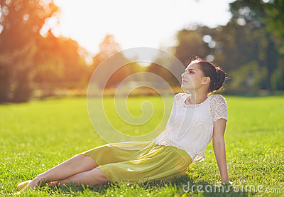 Girl relaxing on meadow