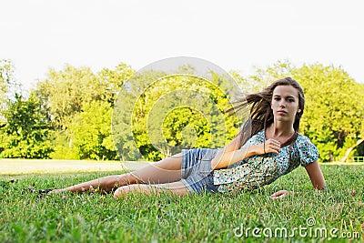 Girl relaxing in park