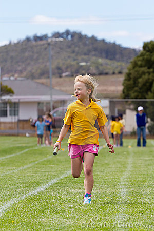 Girl in relay race
