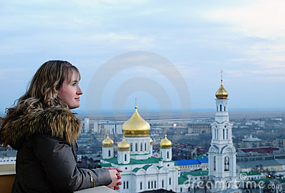 Girl and religion. Cathedral. Rostov-on-Don.