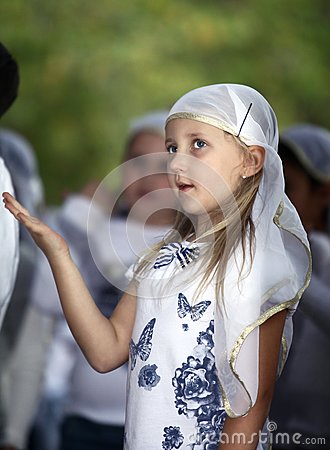 Girl on a religious holiday