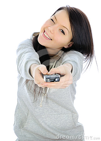 Girl and a remote control.