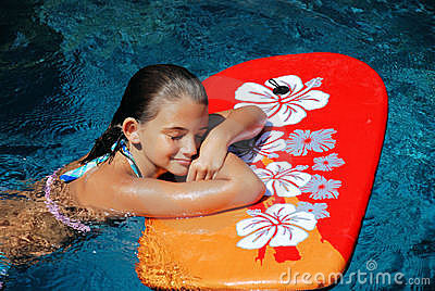 Girl Resting on a Boogie Board