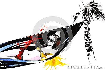 Girl resting in hammock