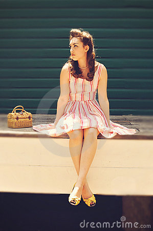 Girl in retro clothes