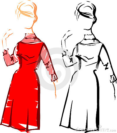 Girl. Retro Fashion Vector Sketches.