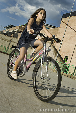 Free Girl Riding Bicycle Stock Photo - 6586380