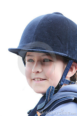 Girl in riding helmet
