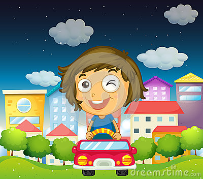 A girl riding with her toy car