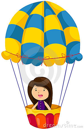 Girl riding hot air balloon