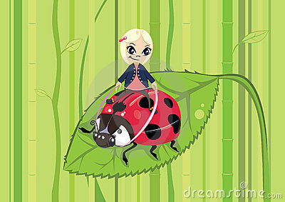 Girl riding on a ladybug