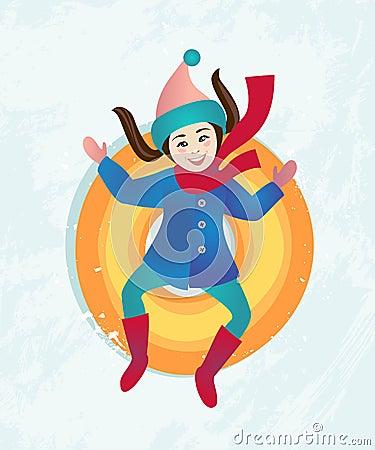 Girl riding a snow tube Vector Illustration