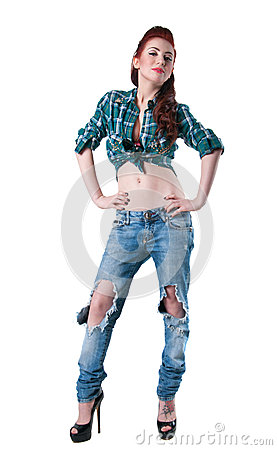 Girl In Ripped Jeans Royalty Free Stock Image Image