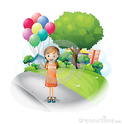A girl at the road with eight balloons