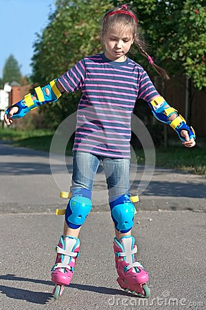 Girl on roller blades