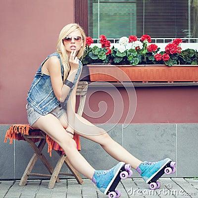 Girl roller skater