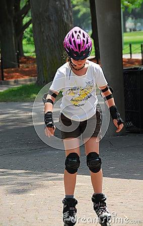 Girl rollerblading