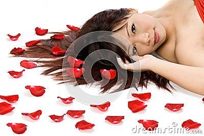 Girl and Rose Petals