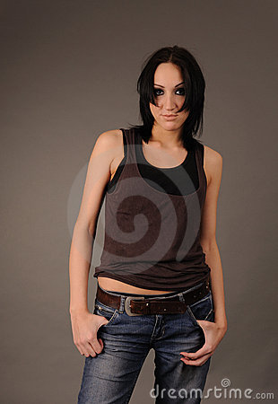 Girl in rumpled shirt and jeans.