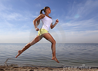 Girl run on beach