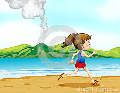 A girl running along the seashore