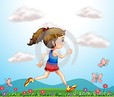 A girl running with butterflies
