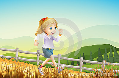 A girl running at the farm