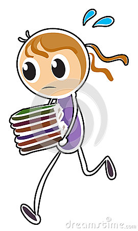 A girl running while holding books